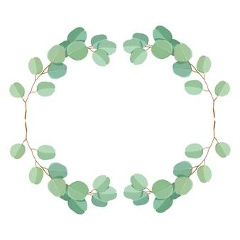 Modèle d'invitation de mariage premium de feuilles et de branches d'eucalyptus vert