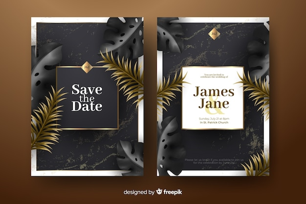 Modèle d'invitation de mariage réaliste feuilles de palmier d'or