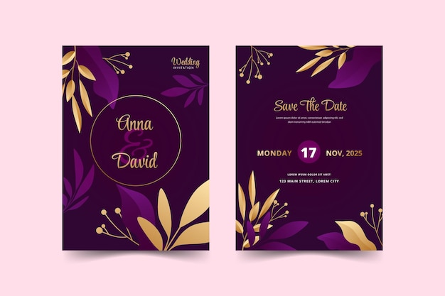 Modèle d'invitation de mariage réaliste de luxe doré