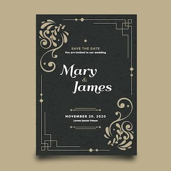 Modèle invitation de mariage rétro