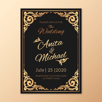 Modèle d'invitation de mariage rétro