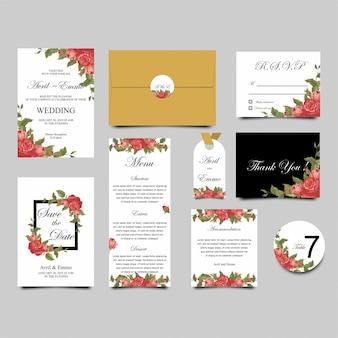 Modèle d'invitation de mariage rose frame