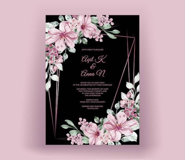 Modèle d'invitation de mariage avec rose or géométrique
