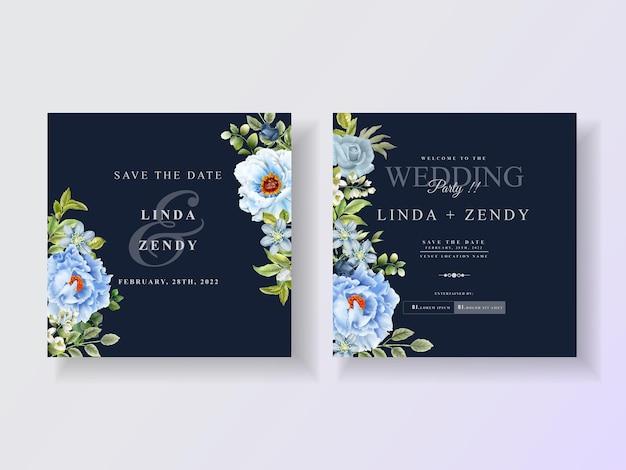 Modèle d'invitation de mariage de roses bleues élégantes