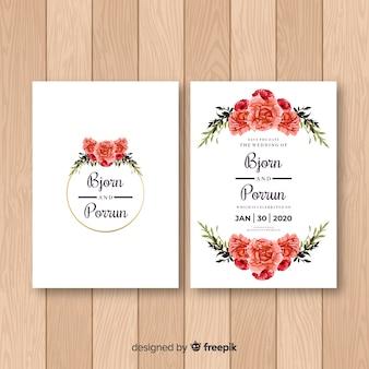 Modèle d'invitation de mariage de roses