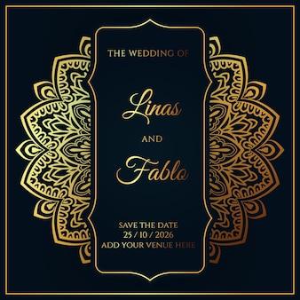 Modèle d'invitation de mariage royal avec un design de mandala