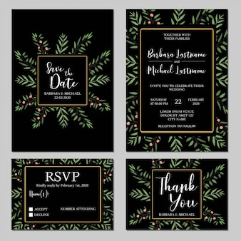 Modèle d'invitation de mariage rustique sertie de verdure