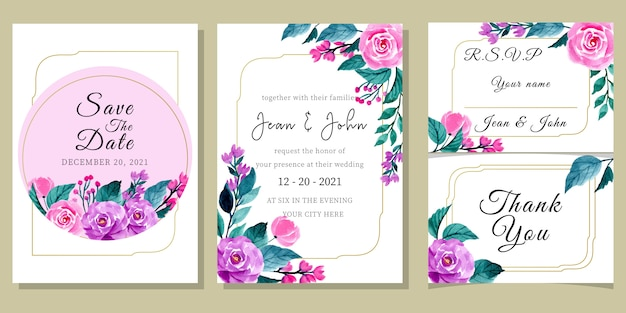 Modèle d'invitation de mariage sertie d'aquarelle florale