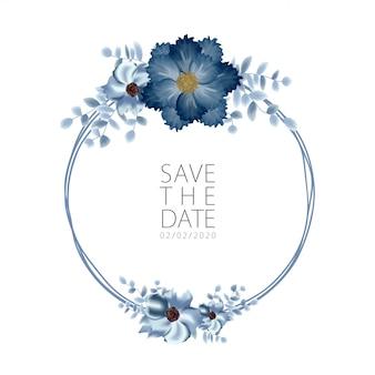 Modèle d'invitation de mariage sertie de décoration de bouquet de fleurs de rose
