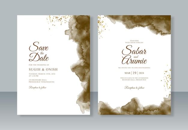 Modèle d'invitation de mariage avec splash aquarelle et paillettes