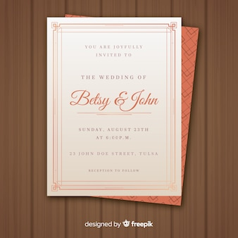 Modèle d'invitation de mariage de style art déco