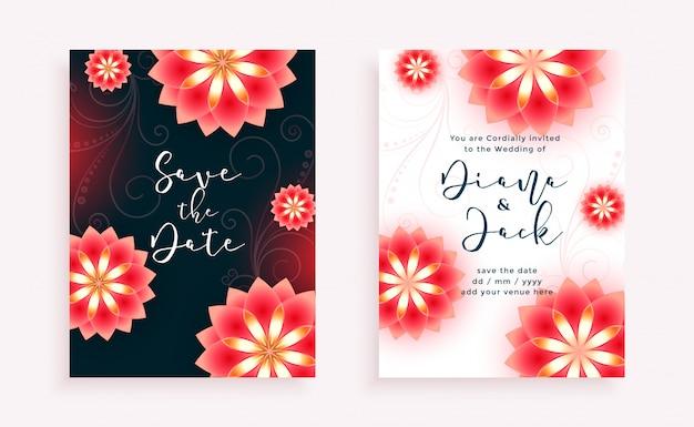 Modèle d'invitation de mariage de style de belles fleurs