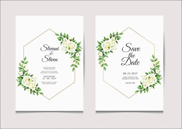 Modèle d'invitation de mariage style blanc et vert