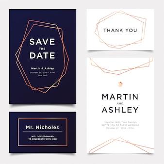 Modèle d'invitation de mariage, style décoratif déco polyèdre géométrique or