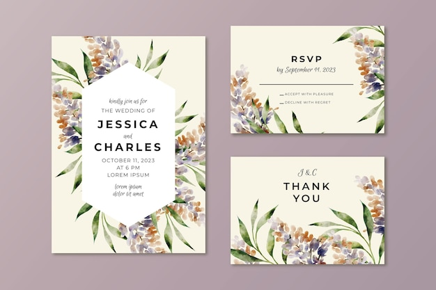 Modèle d & # 39; invitation de mariage style floral