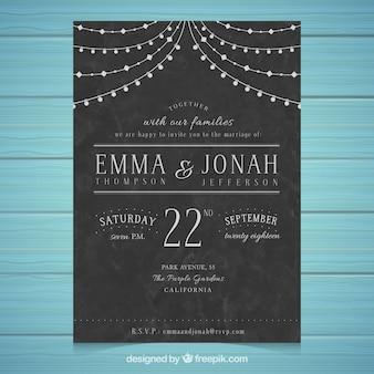 Modèle d'invitation de mariage avec style vintage
