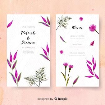 Modèle d'invitation de mariage tropical aquarelle