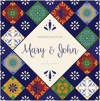 Modèle d'invitation de mariage de tuiles mexicaines talavera