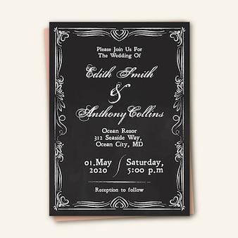 Modèle d'invitation de mariage vintage sur blackboar