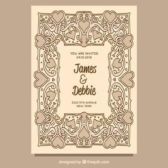 Modèle d'invitation de mariage vintage dessinés à la main