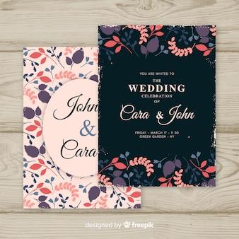 Modèle d'invitation de mariage vintage floral