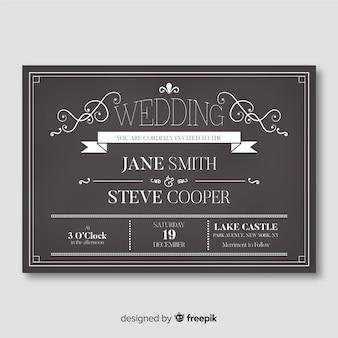 Modèle d'invitation de mariage vintage sur tableau noir