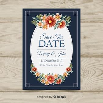 Modèle d'invitation de mariage vintage