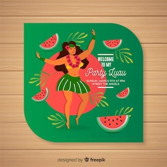 Modèle d'invitation de melon d'eau luau