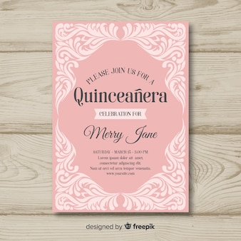 Modèle d'invitation d'ornements quinceanera