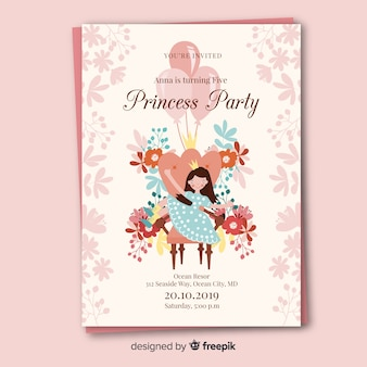 Modèle d'invitation partie princesse dessiné avec des fleurs à la main