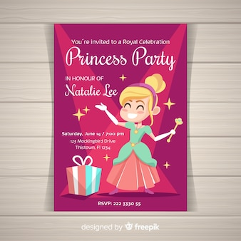 Modèle d'invitation partie princesse dessiné à la main