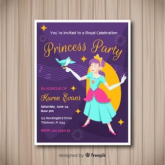 Modèle d'invitation partie princesse dessiné à la main