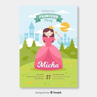 Modèle d'invitation partie princesse plate