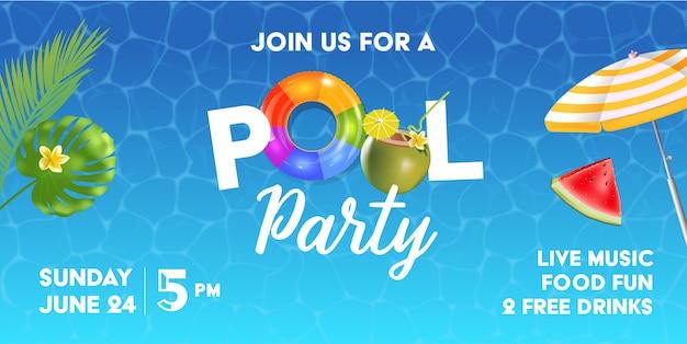 Modèle d'invitation à la piscine avec surface de la piscine, feuilles de palmier, parasol et balle en caoutchouc. arc-en-ciel gonflable réaliste et anneaux orange.