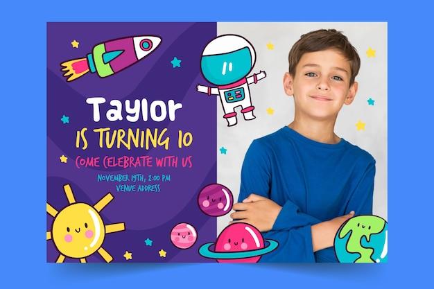 Modèle d'invitation pour enfants avec photo