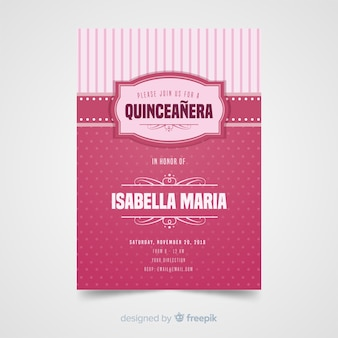 Modèle d'invitation quinceanera dots