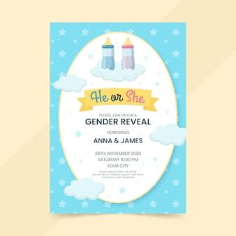 Modèle d'invitation révélateur de genre design plat