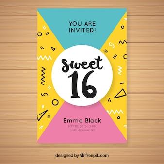 Modèle d'invitation de seize anniversaire memphis