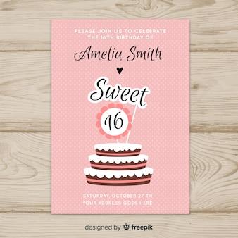 Modèle d'invitation seize gâteaux d'anniversaire