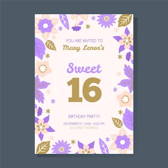 Modèle d'invitation sweet sixteen birtday