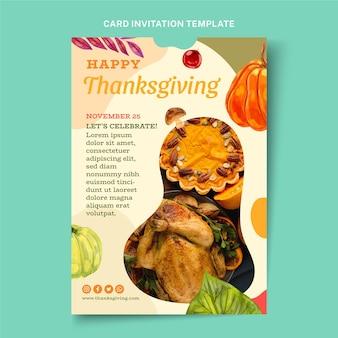 Modèle d'invitation de thanksgiving aquarelle
