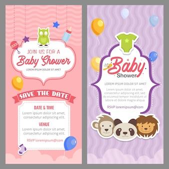 Modèle d'invitation thème animal mignon bébé douche