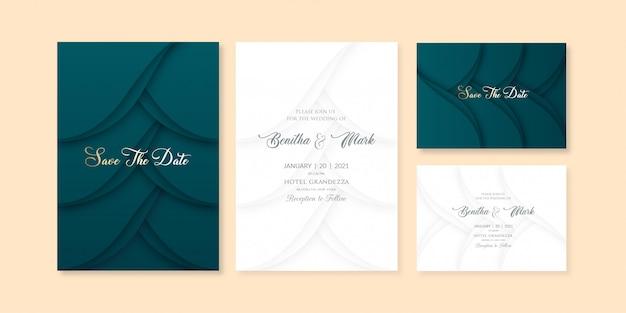Modèle d'invitation de thème bleu verdâtre en couches élégant courbe