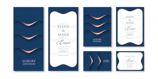 Modèle d'invitation de thème de couleur bleu foncé art en couches de luxe avec trois variations