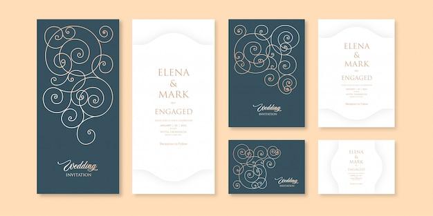 Modèle d'invitation à thème traditionnel élégant motif sombre et clair avec trois variations