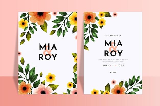 Modèle d'invitations de mariage floral coloré