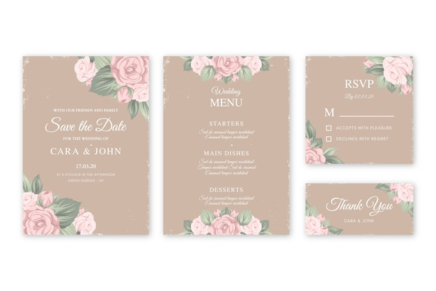 Modèle d'invitations de mariage floral