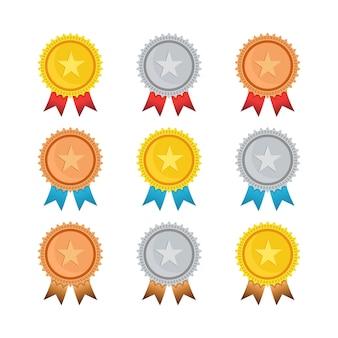 Modèle isolé de médaille d'or, d'argent et de bronze de champion