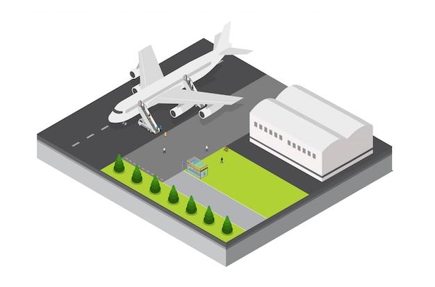 Modèle isométrique d'aéroport et d'avion