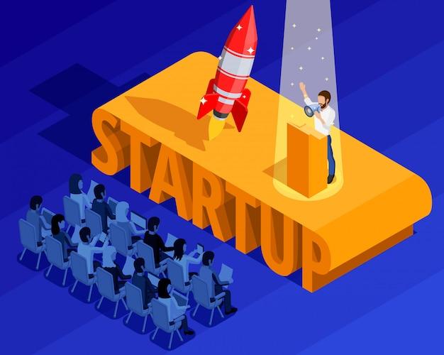 Modèle isométrique de démarrage d'entreprise